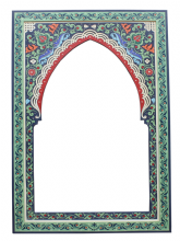 Moroccan Mirror Arched Zouak Wood Blue Green Handmade Large 90cm x 60cm (ZML8)